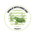world wetlands day turtle and reed vector image vector image