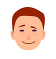 young man smiling face flat icon vector image vector image