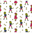 zombie cartoon teen couple seamless pattern vector image