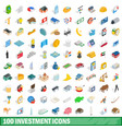 100 investment icons set isometric 3d style vector image vector image