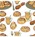 afternoon tea with cinnamon buns seamless pattern vector image