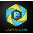 B Letter colorful logo in the hexagonal on black vector image vector image
