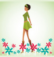 beauty woman with flowers decorate vector image