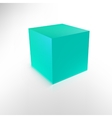 Blue cube with shadow and reflection isolated on vector image