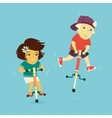Boy and Girl Ride on Jumpers vector image