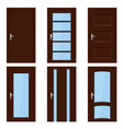 brown doors set of wooden interior designs vector image vector image