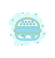 burger sign icon in comic style hamburger cartoon vector image