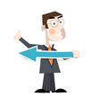 Business Man Holding Paper Arrow vector image vector image