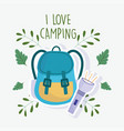 camping flashlight rucksack vacations activity vector image vector image