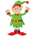 cartoon elf giving two thumbs up vector image