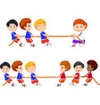 cartoon group of children playing tug of war vector image
