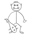 cartoon ogregiant or troll monster with club vector image