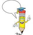 Cartoon Pencil with Word Balloon vector image