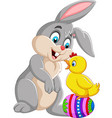cartoon rabbit with a bachick standing vector image vector image