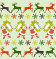 Cartoon santa claus pattern reindeers silhouettes