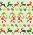 cartoon santa claus pattern reindeers silhouettes vector image vector image
