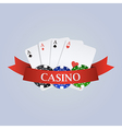 casino with ribbon playing cards and chips vector image vector image