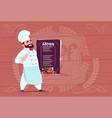 chef cook holding restaurant menu smiling cartoon vector image vector image