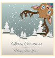 christmas greeting with funny little reindeer vector image vector image
