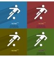 Color set football player Flat modern web button vector image