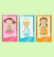 cute dolls banners set girls favorite toys vector image