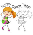 doodle girl character dance vector image vector image