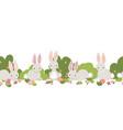 easter bunny seamless border cute bunnies vector image vector image