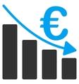 Euro Recession Bar Chart Flat Icon vector image vector image