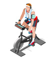 Exercise Bike Spinning Fitness Class Isometric 3D vector image vector image