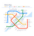 fictional subway map urban metro color design vector image