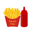 french fries ketchup fried potato vector image