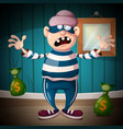funny cute crazy cartoon thief characters vector image vector image
