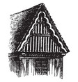 gable structural system vintage engraving vector image vector image