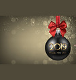 gold 2019 new year background with black christmas vector image vector image