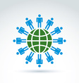 Green earth and mankind symbolic icon conceptual vector image