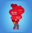 happy valentines day greeting card man holding red vector image vector image