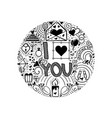 i love you doodle slogan for a t-shirt or poster vector image vector image