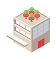 isometric building with rooftop green terrace vector image vector image
