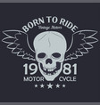 motorcycle clothes graphics skull with wings vector image