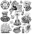 nautical adventure set sea lighthouse mermaid vector image vector image