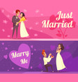 newlyweds cartoon banners vector image vector image