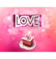 paper curved inscription love cut on a pink vector image vector image