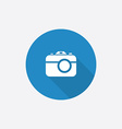 photo camera Flat Blue Simple Icon with long vector image vector image