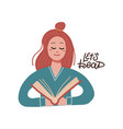 red haired girl reading a big book young woman vector image