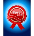 Red label on blue background vector image vector image
