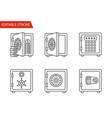 safes icons set thin line vector image vector image