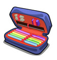 School pencil case with stationery set isolated on