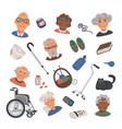 senior lifestyle flat icons set with elderly vector image vector image
