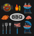 set bbq and different tools for barbecue party vector image