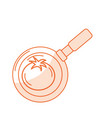 silhouette tomato vegetable inside skillet pan vector image vector image